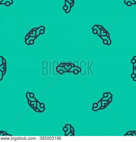 Blue Line Luxury Limousine Car Icon Isolated Seamless Pattern On Green Background. For World Premier