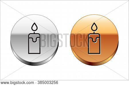 Black Line Burning Candle Icon Isolated On White Background. Cylindrical Candle Stick With Burning F