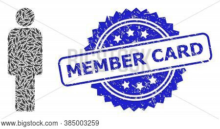 Member Card Unclean Stamp Seal And Vector Fractal Composition Person. Blue Stamp Seal Has Member Car