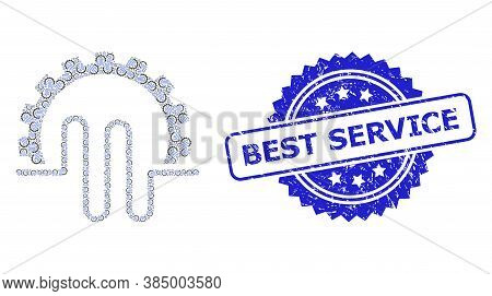 Best Service Rubber Stamp And Vector Recursion Mosaic Pipe Service Gear. Blue Stamp Includes Best Se