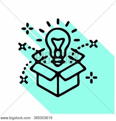 Think Outside The Box Flat Line Icon. Creative Solution Vector Illustration. Thin Sign Of Innovation