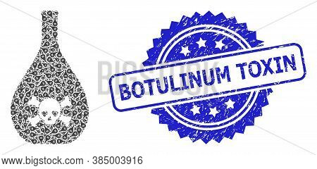 Botulinum Toxin Corroded Stamp And Vector Recursive Collage Poison Jug. Blue Stamp Seal Includes Bot