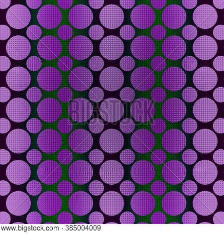 Purple Polka Dot Pattern With Varied Sized Dots On A Dark Green Background With Subtle Stripes. 12x1