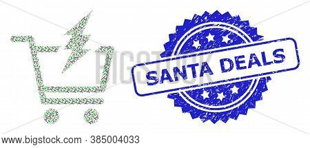 Santa Deals Textured Stamp Seal And Vector Fractal Collage Proceed Purchase. Blue Stamp Seal Contain