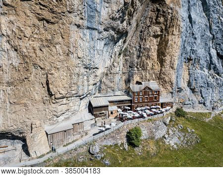 Aerial View Of The Guest House Aescher - Wildkirchli Against The Ascher Cliff At The Mountain Ebenal