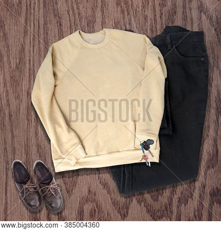 Yellow Sweatshirt Clothing Mockupin Heather Yellow With Black Jeans, Brown Shoes And Keys On A Wood