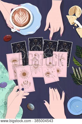A Good Tarot Session Pointing The Guest's Finger To The Arcana Of Fate, The Answers To Which You Wan