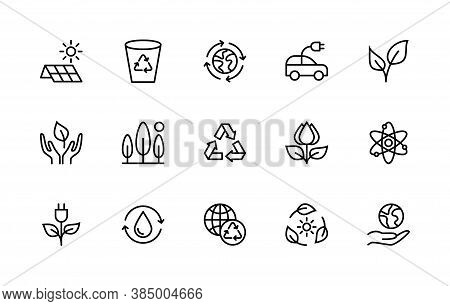 Eco Friendly And Alternative Energy Sources Vector Linear Icons Set. Linear Ecology Icons. Collectio