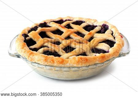 Homemade Blueberry Pie With Lattice Pastry Isolated On A White Background. Side View.