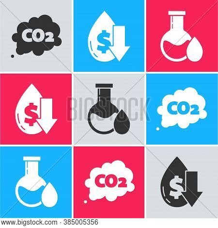 Set Co2 Emissions In Cloud, Drop In Crude Oil Price And Oil Petrol Test Tube Icon. Vector