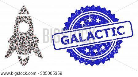Galactic Grunge Seal Imitation And Vector Recursive Collage Rocket Start. Blue Seal Includes Galacti