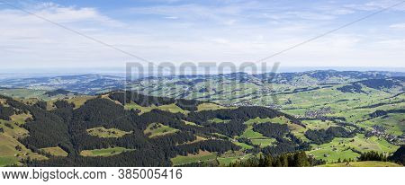 Panorama Of The Appenzellerland, An Overview  From High Swiss Alpstein Region Ebenalp, With Lake Of