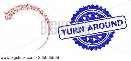 Turn Around Rubber Stamp Seal And Vector Recursion Composition Rotate Backward. Blue Stamp Seal Has