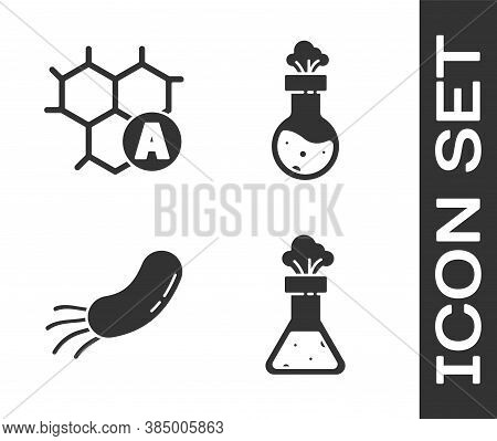 Set Test Tube And Flask Chemical, Chemical Formula, Bacteria And Test Tube And Flask Chemical Icon.