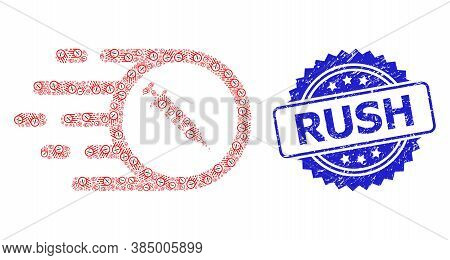 Rush Grunge Seal Imitation And Vector Fractal Collage Rush Vaccine. Blue Seal Includes Rush Tag Insi