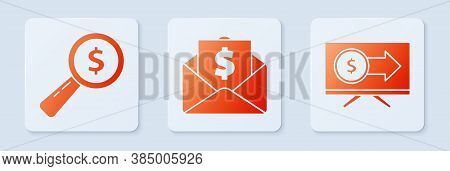 Set Envelope With Coin Dollar, Magnifying Glass And Dollar And Monitor With Dollar. White Square But