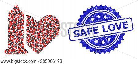 Safe Love Rubber Stamp Seal And Vector Recursion Collage Safe Love. Blue Stamp Seal Includes Safe Lo