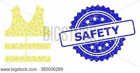 Safety Grunge Seal Print And Vector Recursive Mosaic Safety Vest. Blue Seal Includes Safety Title In