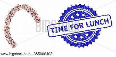 Time For Lunch Unclean Stamp Seal And Vector Fractal Mosaic Sausages. Blue Stamp Seal Has Time For L