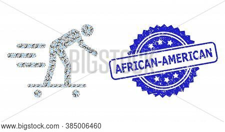African-american Unclean Seal Print And Vector Recursion Mosaic Scate Roller Man. Blue Stamp Seal In