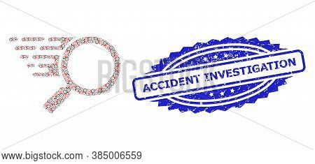 Accident Investigation Scratched Stamp And Vector Recursive Collage Search Tool. Blue Stamp Seal Con
