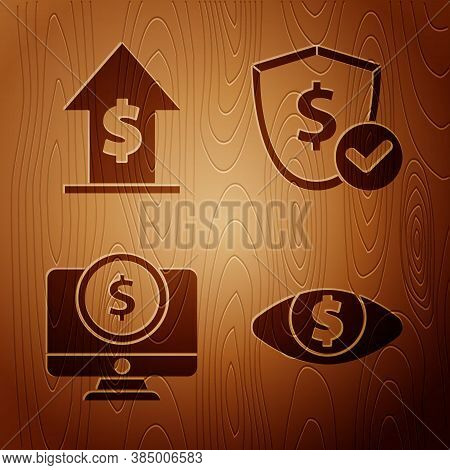 Set Eye With Dollar, Financial Growth And Coin, Computer Monitor With Dollar And Shield With Dollar