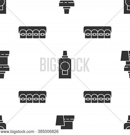 Set Mouthwash Plastic Bottle, Mouthwash Plastic Bottle And Teeth With Braces On Seamless Pattern. Ve