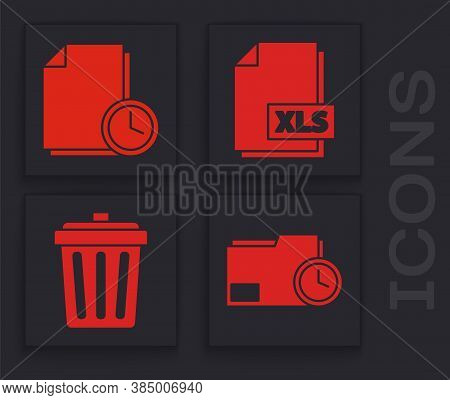 Set Document Folder With Clock, Document With Clock, Xls File Document And Trash Can Icon. Vector