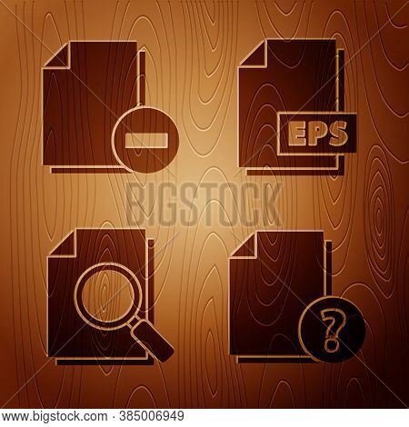 Set Unknown Document, Document With Minus, Document With Search And Eps File Document On Wooden Back