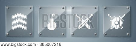 Set Wooden Shield With Crossed Swords, Crossed Medieval Sword, Bomb Ready To Explode And Military Ra