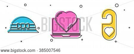 Set Elegant Women Hat, Online Dating App And Chat And Please Do Not Disturb With Heart Icon. Vector