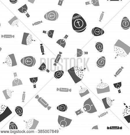 Set Easter Egg, Priest, Easter Cake And Candle And Candy On Seamless Pattern. Vector