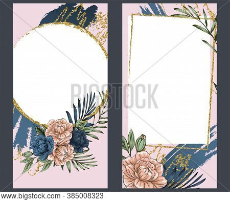 Boho Flowers With Gold Foil, Instagram Stories Template. Set Photo Frame. Streaming. Mockup For Inst