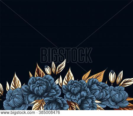 Boho Flowers With Gold Foil, Template For Social Networks Stories And Posts, Vector Illustration. Se