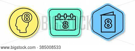 Set Line 8 March In Human Head, Calendar With 8 March And Greeting Card With 8 March. Colored Shapes