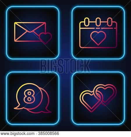 Set Line Two Linked Hearts, 8 March In Speech Bubble, Envelope With 8 March And Calendar With 8 Marc