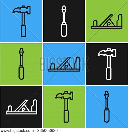 Set Line Claw Hammer, Wood Plane Tool And Screwdriver Icon. Vector