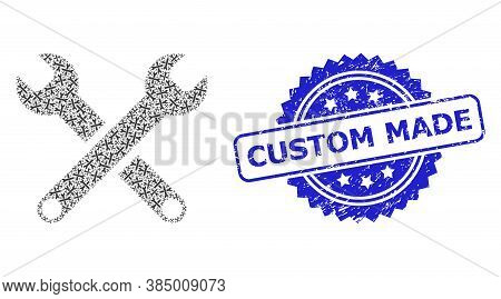 Custom Made Textured Seal Print And Vector Recursion Mosaic Spanners. Blue Seal Has Custom Made Titl