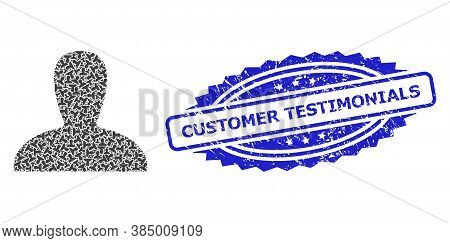 Customer Testimonials Corroded Seal And Vector Recursive Collage Spawn Persona. Blue Stamp Seal Incl