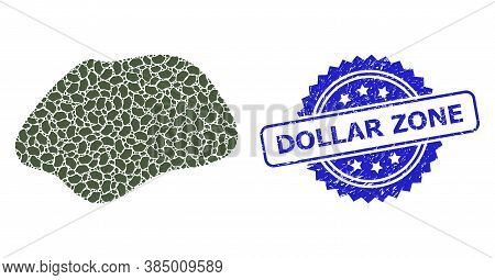 Dollar Zone Textured Stamp And Vector Recursive Mosaic Spot Simple. Blue Stamp Seal Includes Dollar