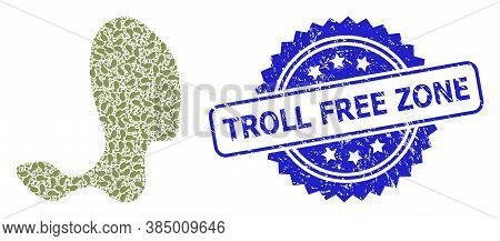 Troll Free Zone Rubber Seal Print And Vector Recursion Mosaic Spot. Blue Seal Contains Troll Free Zo