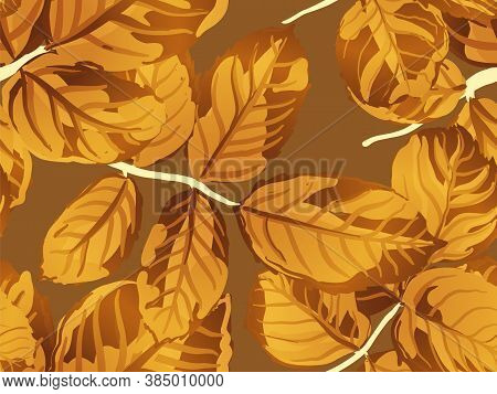 Summer Textile Design. Romantic Botanical Vector Background. Rose Leaves Seamless Pattern. Yellow Go