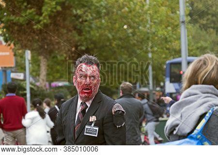 Bristol, Uk - October 29, 2016: Actor Colin Murtagh Taking Part In The Annual Bristol Zombie Walk