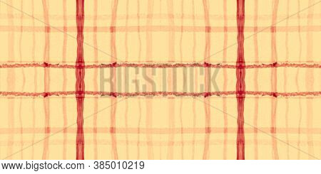 Red Tartan Pattern. Watercolor Picnic Border. Color Stripes For Kilt Print. Seamless Orange Tartan P