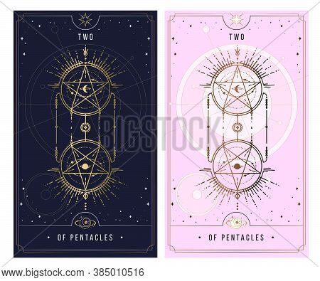 Of Cups. Minor Arcana Secret Card, Black With Gold And Silver Card, Pink With Gold, Illustration Wit