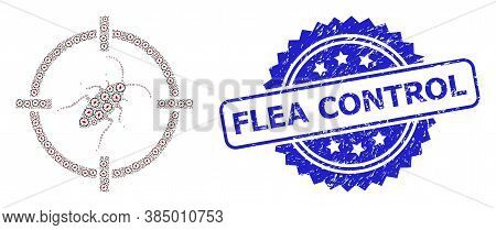 Flea Control Corroded Stamp Seal And Vector Recursive Mosaic Target Cockroach. Blue Stamp Contains F