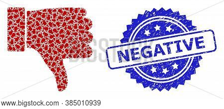 Negative Dirty Seal Imitation And Vector Fractal Mosaic Thumb Down. Blue Seal Contains Negative Text