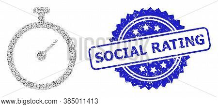 Social Rating Textured Seal And Vector Recursion Mosaic Time Tracker. Blue Seal Contains Social Rati