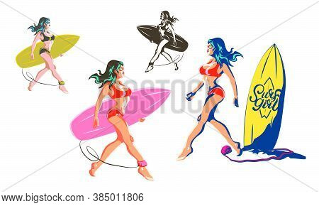 Surfer Girl Goes To Catch Waves On The Beach