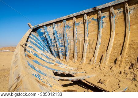 Inside Of A Wooden Boat Wrack In Desert